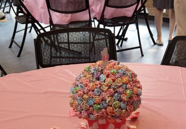 1st bday rental table centerpiece