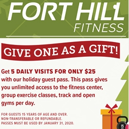 5 for $25 Holiday Guest Pass Fort Hill Fitness Special Offer!